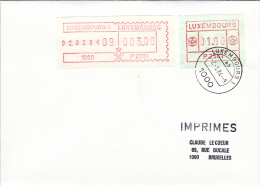 ATM On Cover: Luxembourg 1984 Mi.1 Aut.number P2501 + SFS/Meter - Printed Matter To Belgium  (G35-17) - ATM - Frama (vignette)