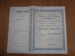 SCRIPOFILIA CERTIFICATO AZIONARIO SOCIETà ANONIMA PER AZIONI FILATURA DI COLLEGNO BIELLA 1900 - Azioni & Titoli