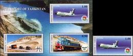 Tajikistan 2001 Transport Of Tajikistan Airplane, Car, Train 1v+Block MNH - Trains