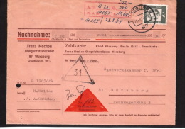 Bund Bed.Deutsche 70Pfg.Nr. 358 Als EF Auf Nachnahme-Brief - Lettres & Documents