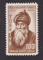 Turkey, Scott #1254, Mint Never Hinged, Architecht Mimar Koca Sinan, Issued 1957 - 1921-... Republik