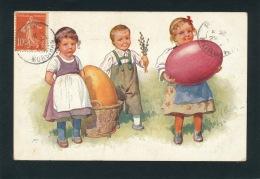 ENFANTS - LITTLE GIRL - MAEDCHEN  - Jolie Carte Fantaisie Viennoise Enfants Avec Oeufs De PAQUES Signée FEIERTAG - Pâques