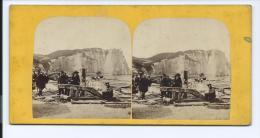 PHOTO STÉRÉO CIRCA 1860 FURNE ET TOURNIER ETRETAT CABESTAN LA NORMANDIE ARTISTIQUE N°49 (PORT R2 OFFERT / FREE SHIPPING - Stereoscopio