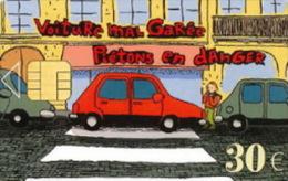 # Carte De Stationnement Pariscarte 1214 Pietons En Danger 30 Euros - Verso 11 - Tres Bon Etat - - Parkkarten