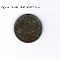 CYPRUS    3  MILS  1955  (KM # 33) - Cyprus