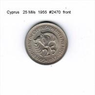 CYPRUS    25  MILS  1955  (KM # 35) - Cyprus