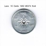 LAOS    10  CENTS  1952  (KM # 4) - Laos