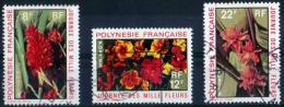 POLYNESIE 1971 FLEURS N° 83/85 OBLITERES Cote 6.15 Euros - Polynésie Française
