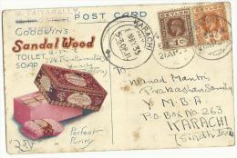 British Ceylon 1935 Postal Used Post Card Postage & Revenue Stamps Postcard - Ceylan (...-1947)