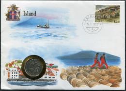 1987 Iceland United Nations Flag Reykjavik Coin Cover - 1944-... Republique