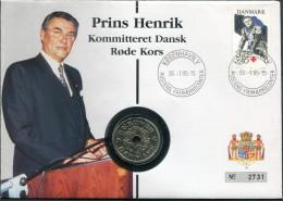 1995 Denmark Copenhagen Prince Henrik Red Cross Coin Cover - Covers & Documents