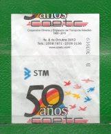 """7  URUGUAY 2013 -Boletos De Transporte-50 AÑOS Cia.""""C.O.E.T.C.""""  Circulando Actualmente - Mondo"""