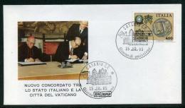 ITALY FDC - Nuovo Concordato Tr Alo Stato İtaliano E La Città Del Vaticano (FDC Roma) 15.10.1985 - 6. 1946-.. Repubblica