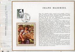 Belgique 1972 1641 Feuillet FDC Soie - Frans Masereel - Graveur Sur Bois - Peintre - Moisson - Feuillets