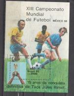 BRAZIL, 1985, FIFA, 13th World Cup Football, Soccer, Mexico, Miniature Sheet,   MNH, (**) - World Cup
