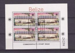 H] Feuille Oblitérée De 4  Cancelled Mini Sheet Of 4 Belize Journée Du Commonwealth Day- Université University - Belize (1973-...)