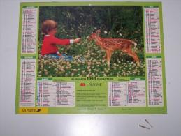 1993 CALENDRIER (double) ALMANACH DU FACTEUR, LA POSTE, GARCON/FAON, POULAIN, LAVIGNE, ARDENNES 08 - Calendriers