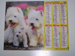 1992 CALENDRIER (double) ALMANACH DU FACTEUR, LA POSTE, YORKSHIRE TERRIER, WHITE TERRIER, ALMANACHS LAVIGNE, ARDENNES 08 - Calendriers