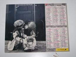 1994 CALENDRIER (double) ALMANACH DU FACTEUR, LA POSTE, ENFANCE, ENFANTS, LAVIGNE, ARDENNES 08 - Calendriers