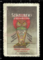 Old Original German Poster Stamp (advertising Vignette, Reklamemarke, Cinderella ) SCHAUBEK - Owl Eule Bird Vogel - Owls