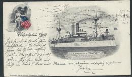 "Spanish American War 1898, U.S. Battleship ""Maine"" Picture Postcard, With Scott #281 (5c Grant), Sent To Austria - Postal History"
