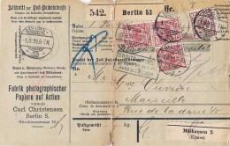 BERLIN PaketGEBILDETES EINSCHREIBEN COLIS POSTAL FABRIK PHOTOGRAPHISCHER CARL CHRISTENSEN MULHAUSEN ELSASS MULHOUSE - [5] Berlin