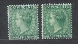 SS2556 - ST. VINCENT , Yvert N. 32 : 2 Valori Fil Normale + Reversed * Mint - St.Vincent (...-1979)