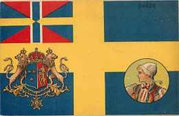 Pays Divers -suède - Ref 701  - Drapeau Suédois Avec Blason Et Femme En Médaillon - Carte Bon état - - Suède
