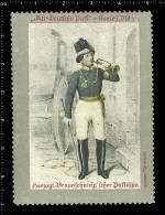 Old Original German Poster Stamp (cinderella, Reklamemarke) Old German Post,  Alt-Deutsche Post, Postman, Briefträger - Jobs
