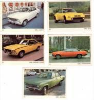 5 Cartes Americana Munich, Automobiles :  Opel GT/J, Ascona, Rekord Coupé, Commodore, Kadett - Autres Collections