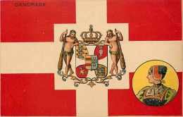 Pays Divers -danemark - Ref 683 - Drapeau Avec Blason Et Femme En Médaillon  -  Carte En Bon état - - Danemark