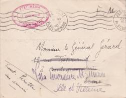 """1940 Cachet """" ETAT-MAJOR 2è REGION AERIENNE Sur Lettre FM > St Lunaire Ille Et Vilaine / Aviation Militaire - 2. Weltkrieg 1939-1945"""