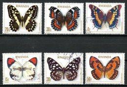 Rwanda   909 à 915 Sauf 911   Obl   ---    Papillons - Rwanda