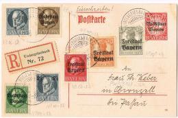 Einschreib-Ganzsache Volksstaat Mit Zusatzfrankatur Frei-/Volksstaat Und Original Bayern 10.12.1919 - Bayern