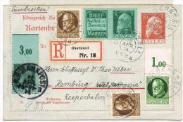 Kartenbrief 10 Pfg. Mit Zdr. Kohl Mi# 28a Einschreiben Mit Zfr. 12.APR 1914 Und K.B.Bahnpoststempel Pa - Re - Bayern