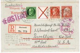Kartenbrief Zdr. W6 Von Obernzell/BY Nach Brooklyn N.Y. 21.Dec.1914 (ggf. Per U-Boot Befördert?), Verschiedene Stempel - Bayern