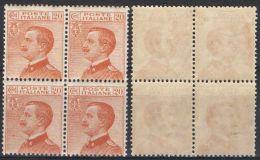 R433) V.E.III MICHETTI 20 CENT. 1925 NUOVO IN QUARTINA - Nuovi