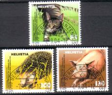 Zu 1130-1132 / Mi 1886-1888 / YT 1812-1814 Animaux Obl. 1er Jour Demi-lune BERN 1 SCHANZENPOST - Switzerland