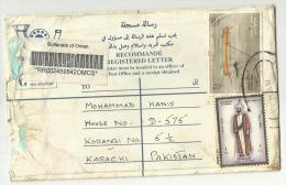 Oman 2000 Registered Letter Postal Used Cover Oman To Pakistan As Per Scan Ship & Omani Costumes Stamps - Oman