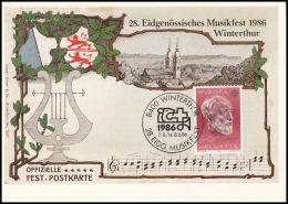 """Switzerland 1986, Maximum Card"""" Musicfest 1986 Winterthur"""" - Cartoline Maximum"""