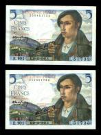 Suite De 2 Billets 5 Francs Berger - 1871-1952 Antichi Franchi Circolanti Nel XX Secolo