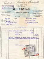 - FACTURE - 18 LURY Sur ARNON - A. TIXIER , Constructions Agricoles - 004 - Fatture & Documenti Commerciali