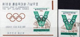 Olympiade 1964 Korea 462+Block 194 O 11€ Stadion Leichtathletik Foglietto Bf Sport M/s Bloc Olympic Sheet Of South Coree - Summer 1964: Tokyo