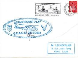 PH JEANNE D´ARC+ DETACHEMENT ALAT GEAOM 2003/2004 Signature Cdt LE 5/2/2004 - Marcophilie (Lettres)