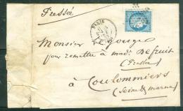 Yvert N°60 Type 1 (oblitéré étoile Muette Paris 60  Sur LSC En Oct 1872   - Ad22711 - Marcofilia (sobres)