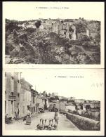 CPA  DOUBLE ANCIENNE- FRANCE- SAISSAC (11)- AVE. DE LA GARE- ANIMATION- TROUPEAU D'OIES- HOTEL + VUE GENERALE ET CHATEAU - Other Municipalities