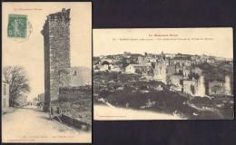 LOT 2 CPA ANCIENNES- FRANCE- SAISSAC (11)- VUE GENERALE ET CHATEAU- VIEILLES TOURS- CHARRETTE- GROS PLAN - Frankreich