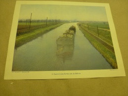 Année 1954 Grande Photographie En Couleurs (27cm X 21cm) Canal Et Voie Ferrée Près De BETHUNE - Luoghi