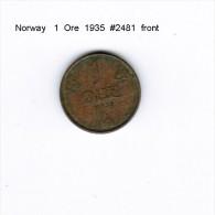 NORWAY   1  ORE  1935  (KM # 367) - Norway