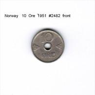 NORWAY   10  ORE  1951  (KM # 383) - Norway